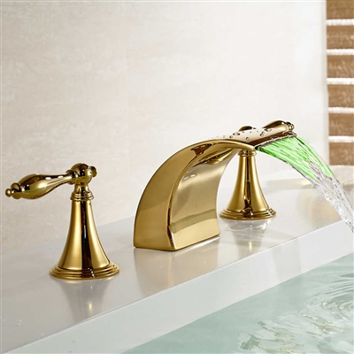 LED Colors Waterfall Spout Bathroom Sink Faucet Sink Mixer Tap Gold Finish
