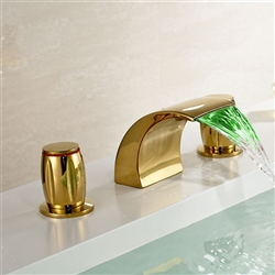 LED Colors Waterfall Bathroom Sink Faucet 3 Holes Sink Mixer Tap Gold Polished
