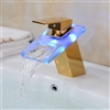LED Waterfall Spout Bathroom Sink Faucet Mixer Tap Gold Finish