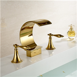 Waterfall Spout Bathroom Sink  Faucet Double Knobs Sink Mixer Tap Gold Finish