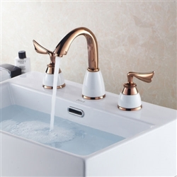 Luxury Deck mounted 8-inch 3 Holes Bathroom Sink Mixer Tap Golden Basin Faucets