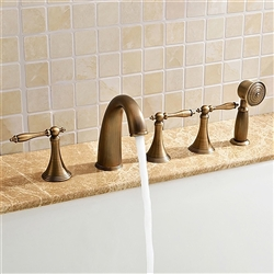 Verde Classical Antique Soild Brass Bathroom Tub Faucet With Handheld Shower