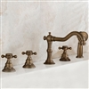 Antique Brass Finish Tub Faucet with Hand Shower