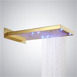 Reno Led Color Changing Gold Plate Two Ways Solid Brass Wall Mount Shower Head