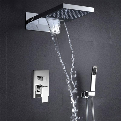 "22"" Lina Multifunctional Shower Head Mirror Chromed Polished 2 Way Rainfall Shower Sets Bath Faucets faucet led"