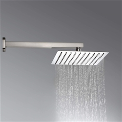 "Nickel Brushed 12""Ultrathin Shower Head Wall Mounted Shower Faucet W/ Shower Arm"