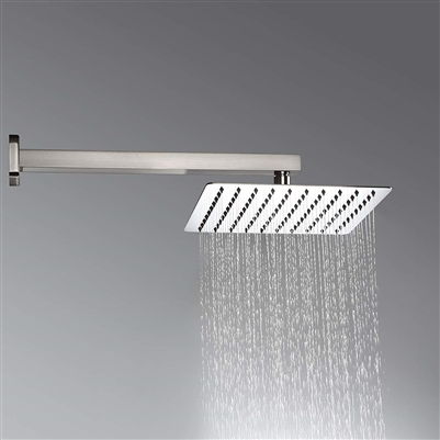 "Nickel Brushed 12""Ultrathin Shower Head Wall Mount Shower Faucet W/ Shower Arm"