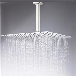 "New Large 16"" Nickel Brushed Rainfall Shower Head Ultrathin Square Shower Head"