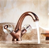 Suex Rose Gold Sink Faucet with Crystal Handles