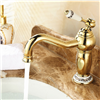 Rio Gold Plated Sink Faucet with Ceramic Accents