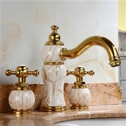 Luxury Natural Jade Gold Finish Sink Faucet Dual Handles Mixer Tap Centerset