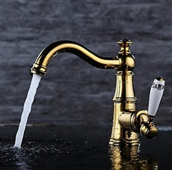 Gold Plate Bath Vessel Sink Faucet Single Ceramic Handle Deck Mount Mixer Tap