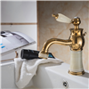 Luxury Gold-plate basin Faucet Single Jade Handle Centerset Mixer Tap