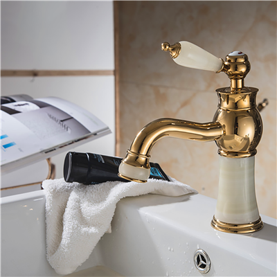 Luxury Gold-Plate sink Faucet Single Jade Handle Centerset Mixer Tap