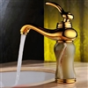 Luxury Gold Plated Jade Bathroom Vessel Sink Faucet Single Handle Mixer Tap