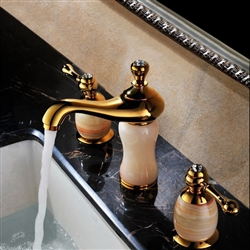 Leo Design Natural Jade Gold Plated Sink Faucet