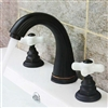 Euro Dual Ceramic Handle Sink Faucet Oil Rubbed Bronze Bathroom Sink Tap