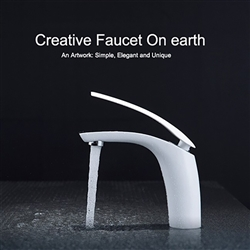 Rio Vert Bathroom Sink Faucet White Color Chrome Finished Faucet Hot Cold Water