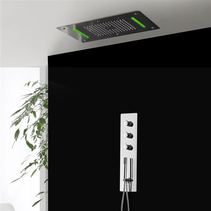 Platinum Shower Set with 5 Functions Thermostatic Mixer with 700x380 LED Ceiling Shower Head 4 Function Rain Waterfall.Spray Mist and Curtain