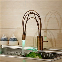 Kitchen Mixer Faucet Single Lever Swivel Spout Color Changing LED Light Brass