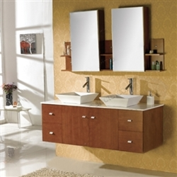 FontanaShowers Contemporary Double Vanity Set With Deck Mount Ceramic Sink