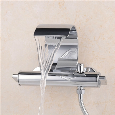 Burzaco  Wall Mounted Dual Handle Water Fall Bathroom Sink Faucet