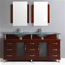 FontanaShowers Contemporary Double Vanity Set With Glass Top And Dropped In Sink