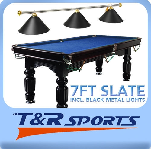Ft Solid Timber Slate Pool Table Green Blue Red - Black pool table with blue felt