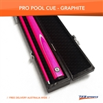 Pink Full Length 2-Piece Pool Snooker Billiard Graphite Cue With Black Case AU