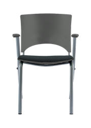 Allseating MultiStack® Chair with Arms and Upholstered Seat