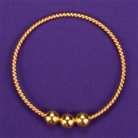 Sacred Cubit Light-Life Tensor Ring - 1/2 Cubit, 24K gold plated, 3 beads: Light-Life Technology