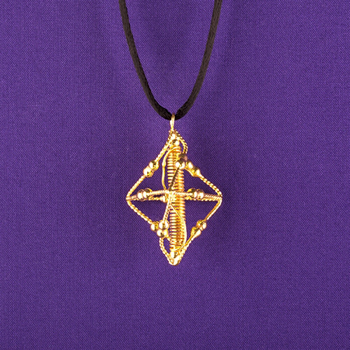 Pyramid pendant 24k gold plated lacquered llt larger photo aloadofball Image collections