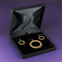 Set - Moon Pendant, Copper, 24K Gold Plated & Moon Earrings, Sterling Silver, 24K Gold Plated