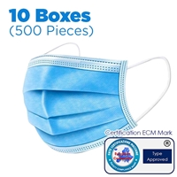 3-Layer Disposable Nose and Mouth Face Mask x10 boxes (500 Pieces)