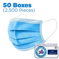 3-Layer Disposable Nose and Mouth Face Mask x50 boxes (2,500 Pieces)