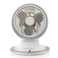 "Airmate 9"" Plastic-Blades with Remote 3-speed High-Velocity Round-base Turboforce Circulator Stand-Fan FB2363R"