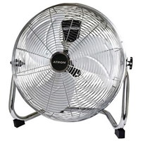 Atron 40cm High-Velocity Metal-Blades Floor Fan Chrome ATF16