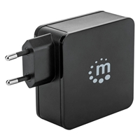 Manhattan Wall-Charger 2-Port Type-C + USB-Port 60W 2.4A 180214