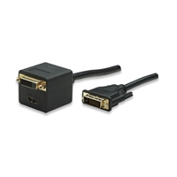 Cable Video - Y-Splitter Male-DVI-D  to 2xFemale-DVI-D+HDMI - 0.30m Shielded Gold-plated Manhattan 307826