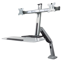 "Manhattan 461443 Counterbalance-Monitor-Desk-Stand 2*Monitor Desk-Mount w/Keyboard Tray Silver 27""max"