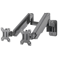 "Manhattan 461627 Wall-Mount Universal TV Bracket with Gas-Spring-Mechanism 2*Monitors 2*Arms 17""-32"" 8Kg-Max Black"