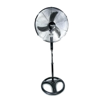 "Bimar 18"" Polycarbonate-Blades with Remote 75W 3-Speed High-Velocity Round-base Stand-Fan Black/Silver"