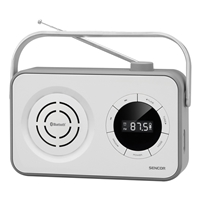 Sencor SRD-3200-W Portable Radio with FM (87.5-108) with Clock/Alarm/USB/SD/AUX/Bluetooth & Digital Display White