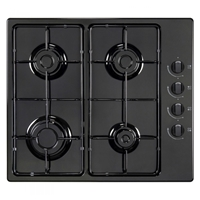 General 4GASB Built-in Gas Hob White 4*Burner Knob-Control Black
