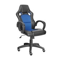 High-Back Racing Chair With Wheels Black/Blue Leather