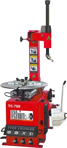 Rhino TC760 Tire Changer on changing riding mower tires, changing travel trailer tires, changing motorcycle tires, changing industrial tires, changing scooter tires, changing car tires, changing bus tires, changing forklift tires, changing atv tires,
