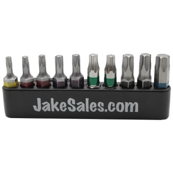 "1"" T10 Through T40 Torx/Star Driver Bit Set - High Quality Color Coded"