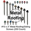 "Mechanical Galvanized Roofing Screws, Sheet Metal Roofing Screws, Corrugated Metal Roofing Siding Screws Pole Barn (3"" 3 inch roofing screws)"