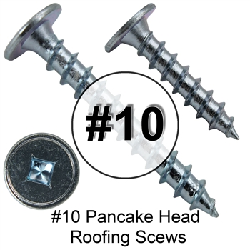 "#10 x 1"" Low Profile Pancake Head - Wood to Metal Roofing Screws (250)"