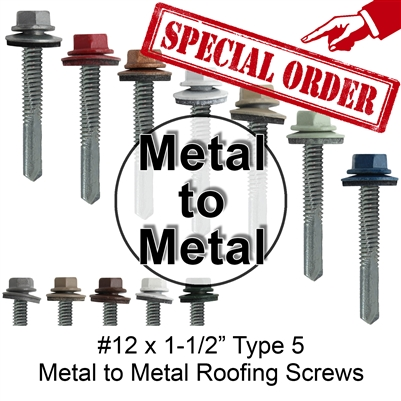 "#12x1-1/2"" Metal to Metal Type #5 Roofing Screws (Qty 250)"